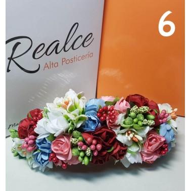 Tocado de flores artificiales 14 x 5cm